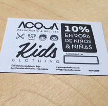 Tarjeta de descuento en ropa de niños para ACQUA | Peluquería & Belleza. A Design project by María Caballer         - 13.11.2013