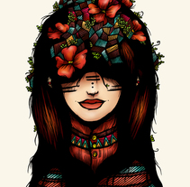 The girl who was thinking about geometry & red flowers. A Illustration, and Character Design project by Luis Pinto - 27-02-2013