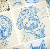 Recopilación de bocetos a lápiz de mi moleskine. Un proyecto de Diseño de personajes e Ilustración de David Figuer - Lunes, 16 de junio de 2014 00:00:00 +0200