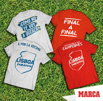 Camisetas Final Lisboa 2014. A Design, Advertising, Art Direction, Br, ing, Identit, Costume Design, Fashion, Graphic Design, and Marketing project by Álvaro Infante - 09-05-2014