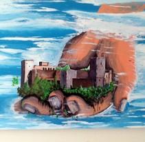"""Esmalte sintético brillante sobre tablero aglomerado """"Alhambra de Granada sobre la mano de Alá"""". Um projeto de Pintura de Dani Mercado         - 11.06.2010"""