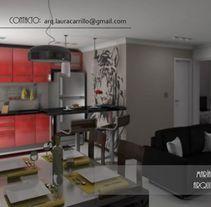 Diseño interior en un espacio pequeño- cocina comedor y living (un solo ambiente). Un proyecto de Diseño, 3D, Arquitectura, Arquitectura interior y Diseño de interiores de Laura         - 05.05.2015