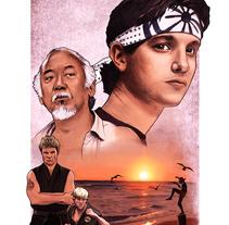 'Karate Kid' poster tributo. Um projeto de Design, Ilustração e Cinema de Ignacio RC         - 02.08.2015