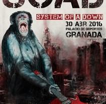 Cartel de concierto. SOAD. A Illustration, and Graphic Design project by Francis Casanova         - 18.10.2015