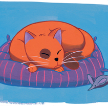 Gatito durmiendo (ilustración gouache). A Illustration, and Painting project by Enric Lleyda         - 28.05.2016