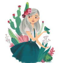 Cactus and Birds. A Illustration, Character Design, and Fine Art project by Lydia Sánchez Marco - Sep 15 2016 12:00 AM