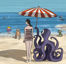 Ilustración digital: Girl on the beach (family monsters). Un proyecto de Ilustración de Bonaria Staffetta         - 09.10.2016