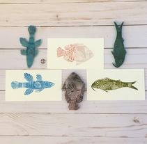Colección de peces. Mi primer contacto con la gubia.. A Screen-printing project by vivicorel         - 09.03.2017