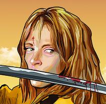 Ilustración digital Beatrix Kiddo. (Kill Bill). Un proyecto de Ilustración de AITOR MARTINEZ ROLLAN         - 12.03.2017