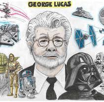 George Lucas Fanart. Un proyecto de Ilustración de Ismael Ruiz Muñoz - 26-08-2016