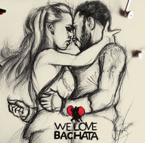 WeLoveBachata. Ilustración de Ronald y Alba.. A Illustration, T, and pograph project by Andréss Art - 06-05-2017