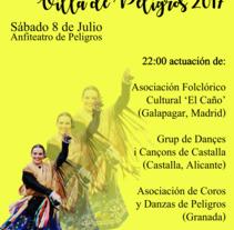 Cartel XXIII Festival de Folclore Villa de Peligros. Un proyecto de Diseño de Elena García Rodríguez - 28-06-2017