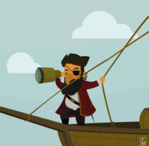Pirata. A Illustration, and Vector illustration project by Albert Plaza Nualart - 03-07-2017