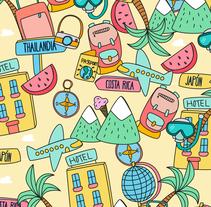"""Pattern """" Haz tu maleta que nos vamos de viaje"""". Um projeto de Ilustração de Susana Fernández         - 11.01.2017"""