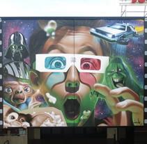 Mural Multicines París -Andujar-. Un proyecto de Arte urbano de Miguel Ángel Belinchón Bujes - 09-11-2016