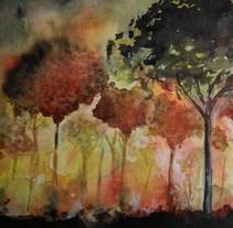 Incendio Galicia y Portugal - Acuarela. A Fine Art project by Andrea Pronsato         - 24.10.2017