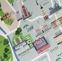 Mapa de Madrid, revista Traveler. Un proyecto de Ilustración, Dirección de arte e Ilustración vectorial de David Comerón - 01-11-2017