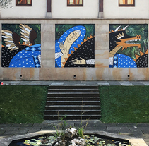 MURAL EN EL CLAUSTRO DEL MUSEO DE ARTE SACRO BILBAO. A Illustration, and Street Art project by Ruth Juan         - 28.11.2017