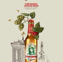 Cruzcampo. Edición especial Navidad.. A Illustration project by Óscar Lloréns         - 20.12.2017