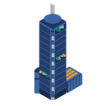 Edificios isométricos. A Illustration, and Vector illustration project by Ajo Galván - 17-01-2018