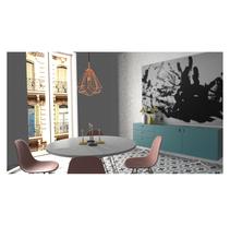 Proyecto de interiorismo en 3d max comedor con cuadros realizados por mi. A 3D&Interior Design project by Elena Sellés Vallès - 10-04-2017